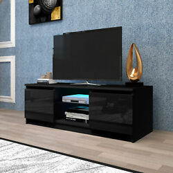 55 High Gloss Tv Stand Cabinet Console Unit Furniture Table Led Shelve 2 Drawer