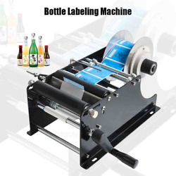 Manual Round Bottle Labeling Machine Beer Wine Adhesive Sticker Labeler Cans