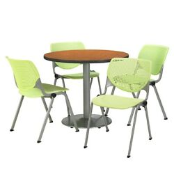 Kfi Round 36in Pedestal Table With 4 Lime Green Kool Stack