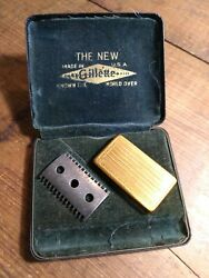 Vintage Gillette The New Razor Case With Blade Case And Bottom Plate Parts