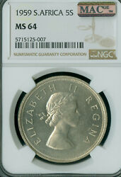 1959 South Africa 5 Shilling Ngc Ms64 Mac Very Rare 2989 Minted