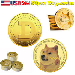 50pcs Gold Dogecoin Coins Commemorative Collector Gold Color Space Doge Coin Us