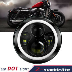 7#x27;#x27; Inch LED Headlight DRL Projector Halo Motorcycle For Dyna Cafe Racer Bobber $20.99