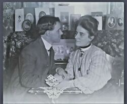 Antique Estate Late 1800s Victorian Couple Playing Cards Glass Plate Negative