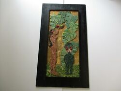 Large Vintage Mosaic Stained Glass With Painting Hawaii Poly Tiki Nude Woman Bar