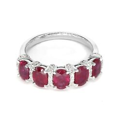 2.32 Ct. Genuine Oval Ruby Ring With 0.23 Ct Tw. Diamonds 18k Solid White Gold