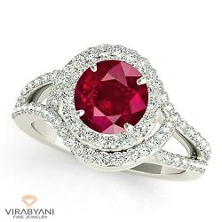 1.79 Ct. Natural Ruby Ring With 0.80 Ct. Diamond Wrap Around Halo 14k White Gold