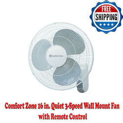 16 In. Quiet 3-speed Wall Mount Fan With Remote Control Timer + Adjustable Tilt