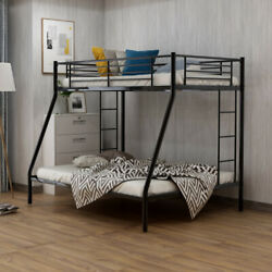 Twin Black Loft Bunk Bed With Sturdy Steel Frame Guard Rail Two Side Ladders