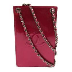 Chain Shoulder Crossbody Bag Enamel Patent Leather Pink Used Cc Coco