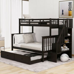 Stairway Twin-over-full Bunk Bed With Twin Size Trundle Storage And Guard Rail