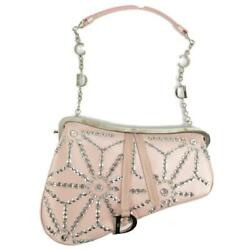 Authentic Dior Saddle Pouch Leather Pink Used Logo