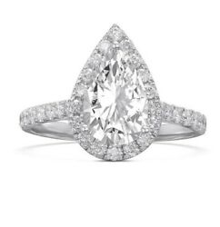 Certified 1.5ct Natural Pear And Round Cut D/vs2 14k White Gold Halo Wedding Ring
