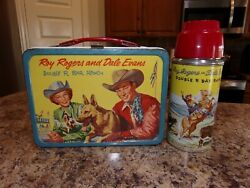 Vintage Roy Rogers And Dale Evans Metal Lunch Box W/thermos
