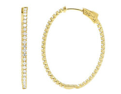 14k Yellow Gold Inside-out 2ct Real Diamond Hoop Earrings 1.5
