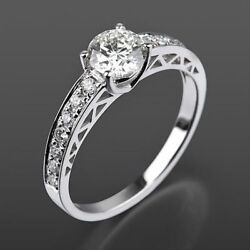 1.19 Ct Diamond Solitaire Accented Ring 14 Kt White Gold Round Vvs1 D Lady