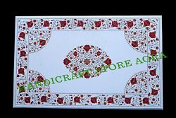 4and039x2.5and039 White Marble Coffee Table Top Inlay Antique Stone Pietra Dura