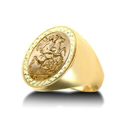 Jewelco London 9ct Gold Domed Polished St George Ring Full Sov Size