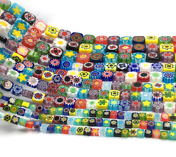 New Flower Square Slice Flat Square Beads Bracelet Necklace Jewelry Accessories