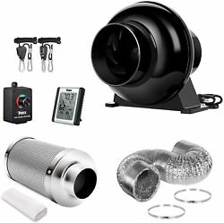 4and039and039 Inline Fan Carbon Filter Ventilation Ducting Combo W/controller Rope Hanger