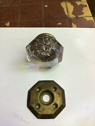 Antique/vintage Sun Purple Tinted Octagon Shaped Door Knob And Brass Rosette Plate
