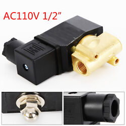 1/2 Npt Brass Electric Solenoid Valve Water Air Gas Fuels N/c Ac 110v 0.2amp