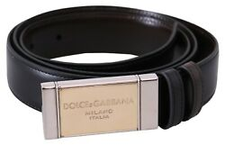Dolce And Gabbana Belt Black Brown Leather Gold Badge Buckle 100cm/40in Rrp 750