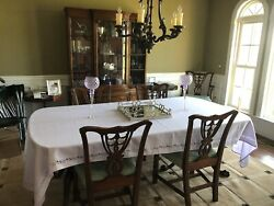 Antique Dining Room Set Table, 6 Chairs, China Hutch, Credenza, Side Tables