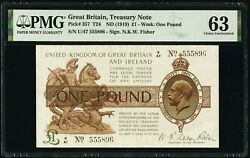 Great Britain Bank Of England 1 Pound Nd 1919 Pick 357 Pmg Choice Uncirculated