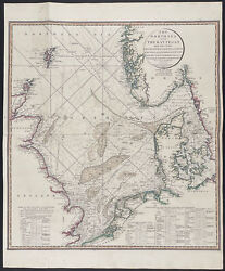 Faden - Map Of The North Sea. 12, 1808 Original Hand-colored Engraving