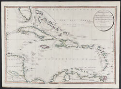 Faden - Map Of West India Islands. 52, 1808 Original Hand-colored Engraving
