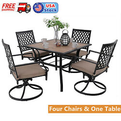 5 Piece Outdoor Patio Furniture Sets Swivel Chairs Garden Laen Dining Table