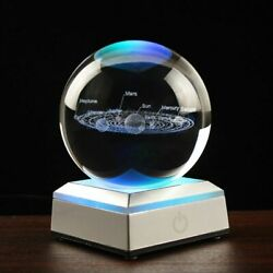 3d Solar System Crystal Ball Globe Planets Glass Sphere Laser Engraved Miniature