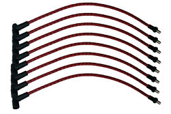 Taylor 73055-c4s 7mm Sp Cloth Wire Red W/black Tracer Univ 8 Cyl Std 180 Silicon