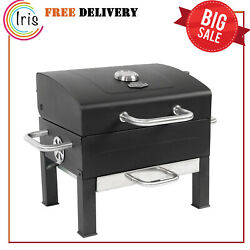 Portable Charcoal Grill Black Stainless Steel Outdoor Bbq Garden Beach Pool New
