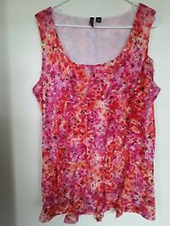 Relativity Pink Red Floral Tank Top Blouse Size 2x Ruffle New
