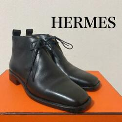 Hermes Ankle Boots Chukka Leather Lace-up Notation 36
