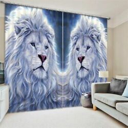 Luxury White Gold Lion Window Curtains For Kids Modern Living Room Hotel Drapes