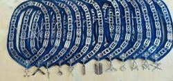 Masonic Regalia Blue Officer Silver Metal Chain Collars With Jewels 12 Pcs