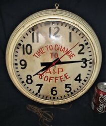 Antique Lg Country Store Aandp Coffee Clock Pam Kitchen Wall Art Advertising Sign