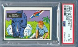 1968 A And Bc Superman In The Jungle 13 Jimmy In Jeopardy Trade Card Psa 4