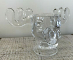 Bullwinkle Clear Drink Glass Cup Warner Bros Rocky And Bullwinkle Moose 8 Antlers