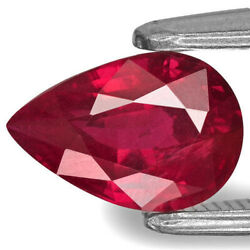 Igi Certified Mozambique Ruby 1.36 Cts Natural Untreated Vivid Pinkish Red Pear