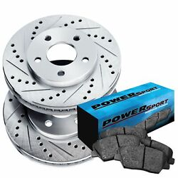 Brake Rotors [front Kit] Powersport Drilled And Slotted + Ceramic Pads Bv03908