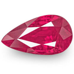 Mozambique Ruby 1.04 Cts Natural Untreated Bright Velvety Pinkish Red Pear