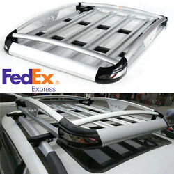 Car Silver Aluminum Roof Rack Top Luggage Bag Basket Crossbar For Bicycle Skis