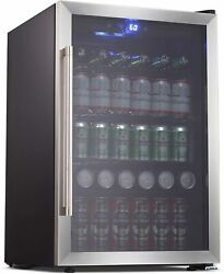 Beverage Cooler And Refrigerator 126 Can Mini Fridge With Glass Door