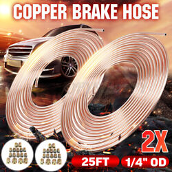2x Roll Copper Steel 25 Ft. 1/4and039and039 Od Brake Line Pipe Tubing Kit With 32 Fittings