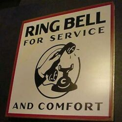 Vintage Ring Bell Old Telephone Motel Tin Sign Hotel Phone Retro Front Desk