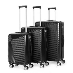 Black Luggage Sets 3 Piece Travel Spinner Suitcase Lightweight Abs 20and039and039 24 28